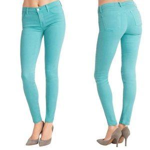 J Brand Super Skinny Jeans Sz 26 Mint Green Denim